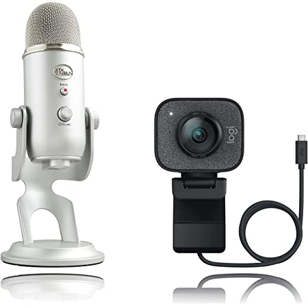 Blue Microphones Yeti Micrófono USB para grabación, Plata + Logitech StreamCam Cámara Web con USB-C para Streaming de vídeo, Negro