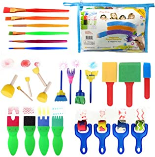 Tomaibaby 1 Set Painting Brushes Set Early Learning Kids Sponge Paint Brush Craft Painting Shapes Stamps Drawing Tools for...