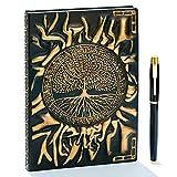 Cuaderno vintage de piel gofrada, con bolígrafo dorado, A5, 200 páginas, efecto envejecido hecho a mano, cuaderno de bocetos, diario de viaje y libreta, regalo para mujeres y hombres