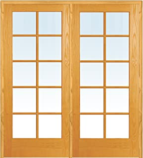 National Door Company ZZ19944R Unfinished Pine Wood 10 Lite Clear Glass, Right Hand Prehung Interior Double Door, 48