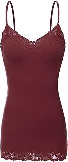 Bozzolo Women's Junior & Plus Adjustable Spaghetti Strap Lace Trim Tunic Tank Top