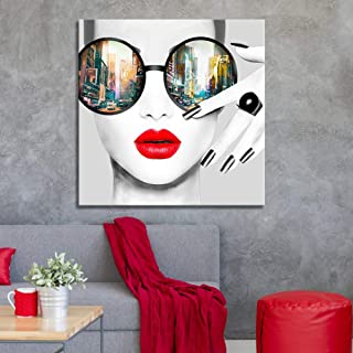 Contemporary Wall Art Modern Fashion Women with Red Lip Canvas Print Stylish Feminine Wall Art Painting Framed Cityscape Piture Ready to Hang for Home Decoration (40x40inch)