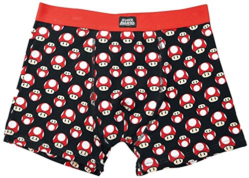 Meroncourt Nintendo Super Mario Bros. Mushrooms Boxer Shorts, Noir, Large Homme