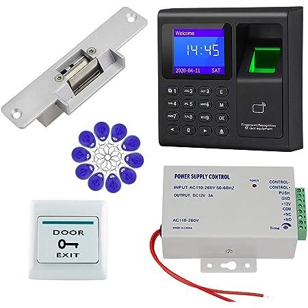 HFeng Sistema de control de acceso de la puerta RFID Cerradura eléctrica Strike, Controlador biométrico de acceso por huella dactilar + 10pcs ...