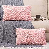 MIULEE Pack of 2 Decorative Romantic Pillow Covers Chic 3D Stereo Chiffon Ruffles Cushion Covers Cases Solid Rectangle Flower Pillowcases for Girl's Room Couch Sofa Bed 12x20 Inch Pink