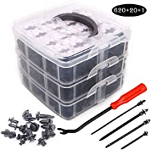 UTSAUTO 620Pcs Car Retainer Clips & Plastic Fasteners Kit Fender Rivet Clips 16 Most Popular Sizes Auto Push Pin Rivets Se...