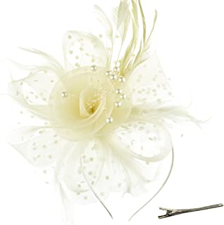 Fascinators Hat Flower Mesh Ribbons Feathers on a Headband and a Clip Tea Party Headwear for Girls and Women