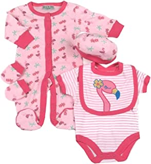 Pink Newborn Baby Girls Unicorn Smocked Dress Set Spanish Style Traditional Outfit White