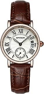 Filfeel Relojes para Mujer, Reloj de Pulsera clásico analógico de Mujer de Cuarzo, Correa de Cuero y Fecha(Marrón)