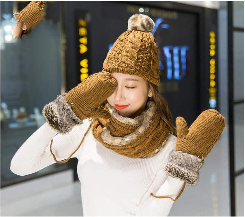 XIAOXIAN よだれかけ節 - スカーフ女の子の冬の誕生日クリスマスギフトイエローマッチングウールの帽子スカーフ手袋スリーピーススーツワンカラー
