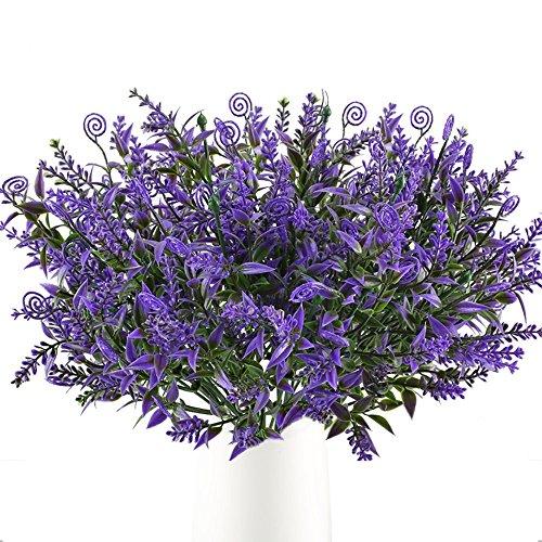 MIHOUNION Künstliche Blumen Deko 2PCS Lavendel Künstliche Pflanze Balkonpflanzen Grünpflanze Kunstblumen Plastikblumen für Topf Garten Balkon Hochzeit Dekoration