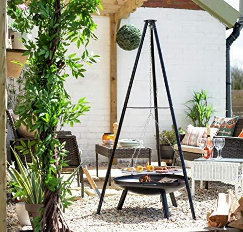 Large Steel La Hacienda Hanging Tripod BBQ & Fire Pit Set, BBQ Grill, Tripod and Fire Bowl (Tall Garden Patio Heater, BBQ Chimenea)