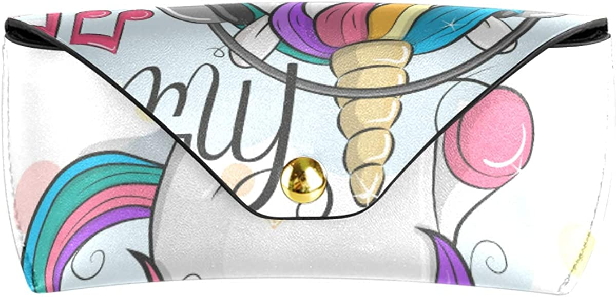 Goggles Bag Baby Cartoon Unicorn Love Music Sunglasses Case Eyeglasses Pouch Multiuse PU Leather present Portable