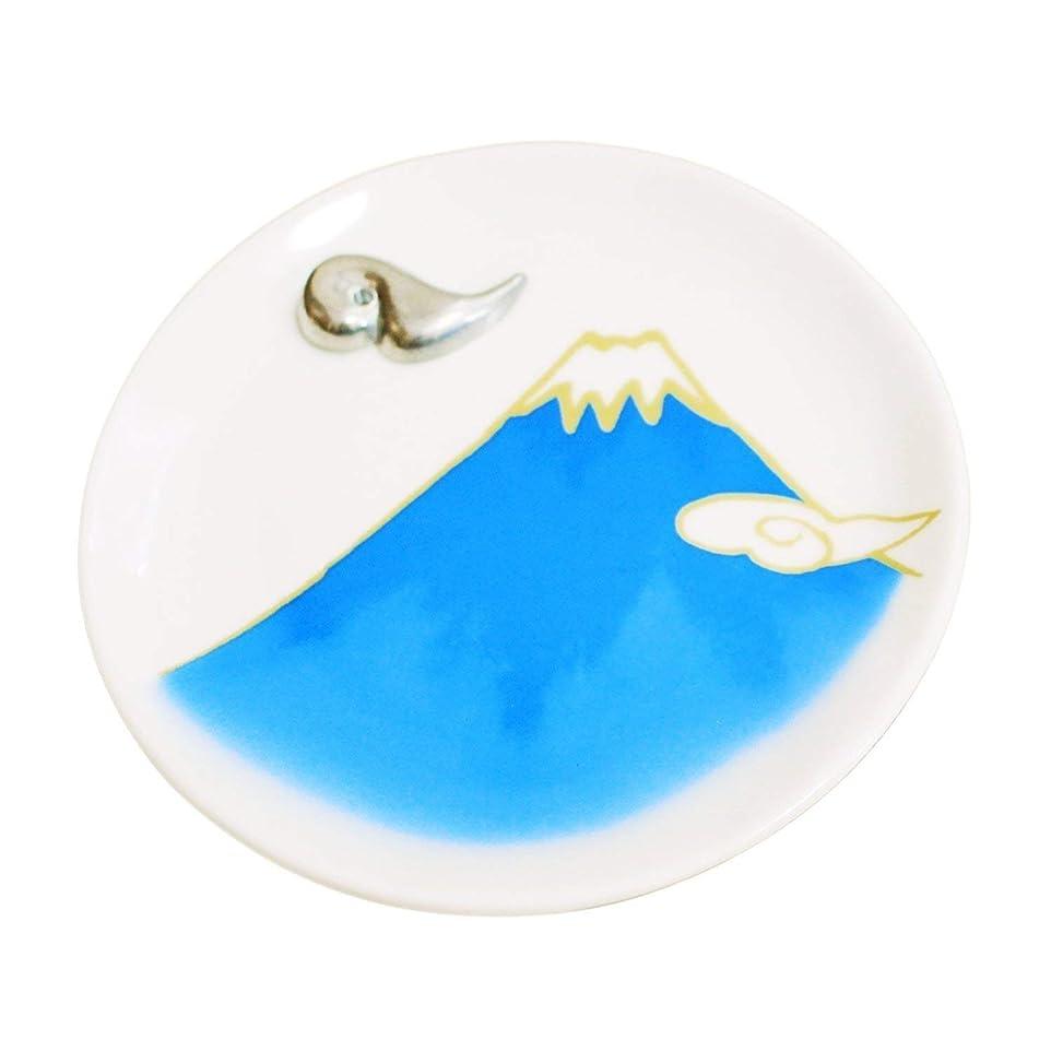 原子炉整理するつぼみ香皿 富士山 ブルー 雲型香立て付 青富士 香立 お線香立て Cセット