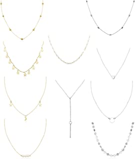 10PCS Layered Chocker Necklace for Women Girls Multilayer Chain Necklace Set Adjustable