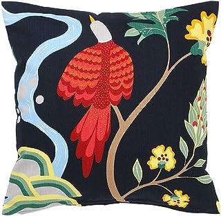 クッションカバー 45×45cm boras cotton(ボラスコットン)BIRDLAND(バードランド) ネイビー 赤い鳥