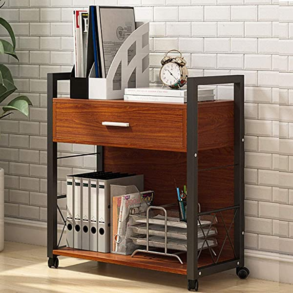 Tribesigns Mobile Printer Stand Modern Printer Cart File Cabinet With Drawer And Rolling Wheels Computer Side Table Machine Stand For Home Office Cherry