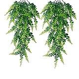 2 Piezas Artificial Helecho Colgante, Flores Vine Plantas, Artificiales...
