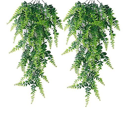 2 Piezas Artificial Helecho Colgante, Flores Vine Plantas, Artificiales Plantas Colgantes, Realista, Duradero, Sin Mantenimiento, para Interior y Exterior, Balcón, Decoración de Boda o Jardín