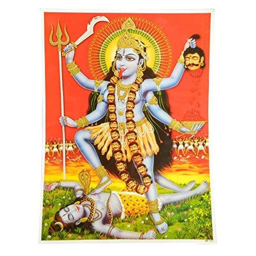indischerbasar.de Stampa su Carta Poster Kali Mahakali 30x40 cm divinità Hindu con Ricami Lavorati a Mano arazzi Accessori casa