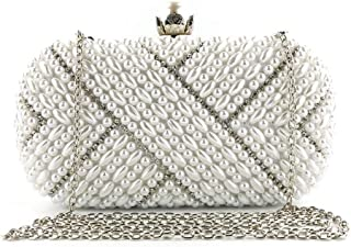 Women's Handmade Beaded Dinner Package Hand Party Wedding Pearl Shoulder Bag Candys house (Color : White, Size : 20 * 6 * 10cm)