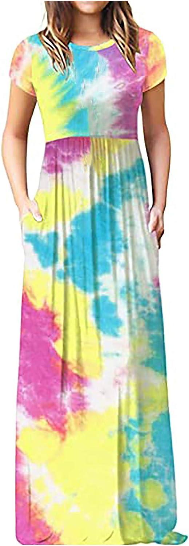 Aniwood Summer Dresses for Women Elegant ,Women's Short Sleeve Boho Tunic Maxi Dresses Casual Long Dresses with Pockets