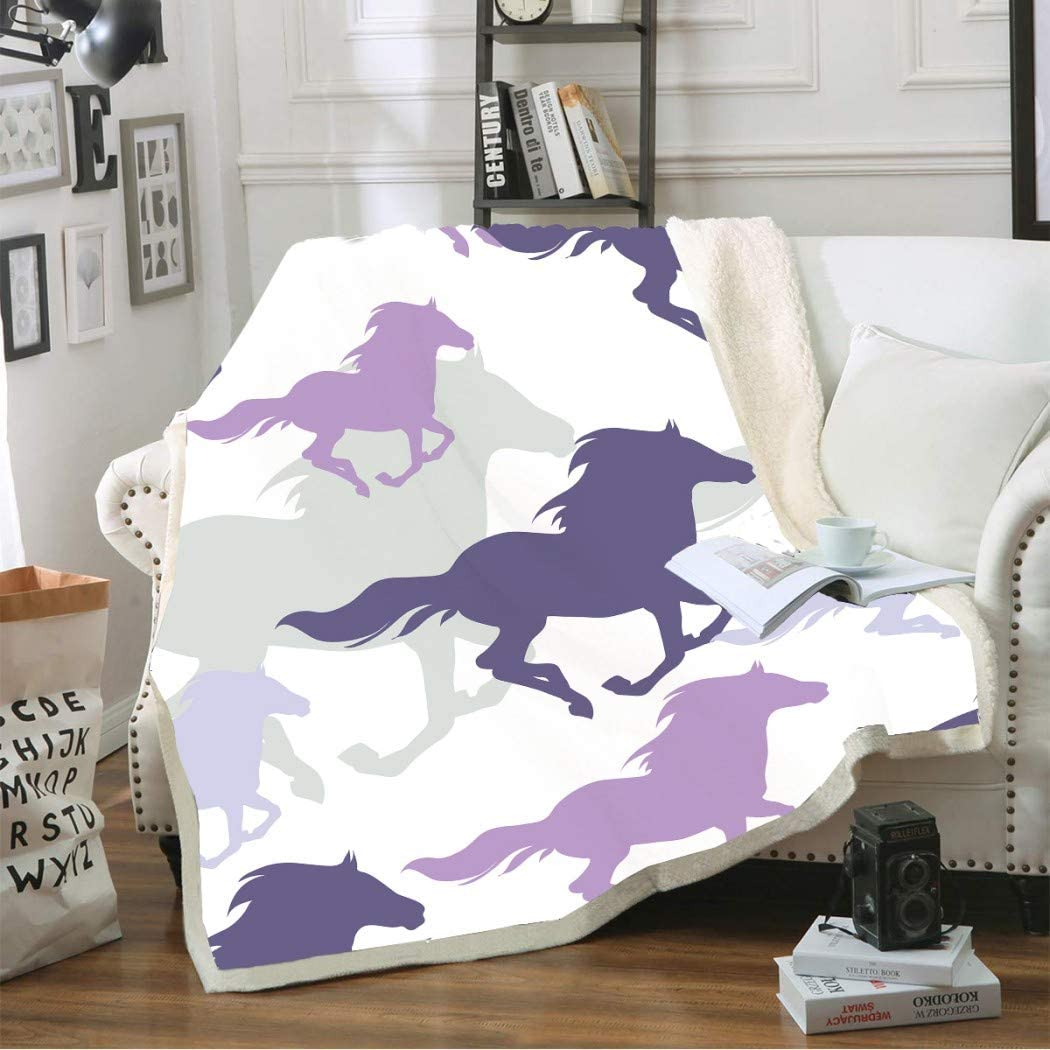 White Horses 3D Print Sherpa Blanket Couch Quilt Cover Travel Child Bedding