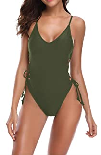Womens One Piece Swimsuit Sexy Lace Up High Cut Monokini Bathing Suits
