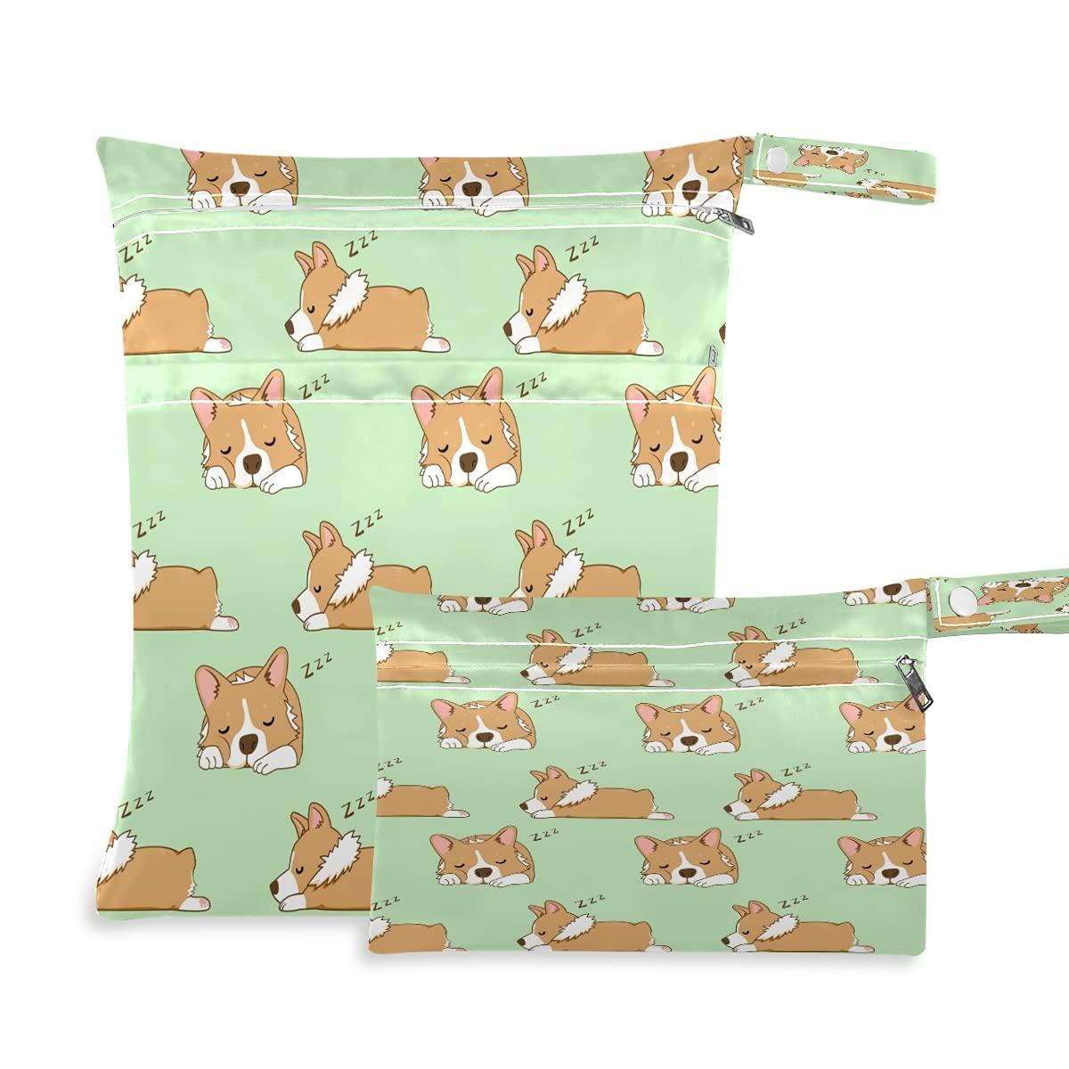 MAHU Wet Dry Bag 2 Pack Sleepy Corgi Dog Animal Pattern Waterproof Kids Baby Cloth Diaper Wet Bags Organizer Pouch Zippered Pockets Yoga Gym Wet Dry Bag for Travel Swimsuits