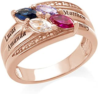 Engraved Mothers Ring & Four Stone - Custom Made Ring with Birthstones -Personalized Gift for Mother's Day