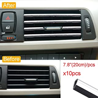 Royalfox 10pc Chrome PVC Car Air Conditioner Vent Outlet Trim Decoration Strip for Dodge,Jeep,Chrysler,BMW,Mercedes-Benz,C...