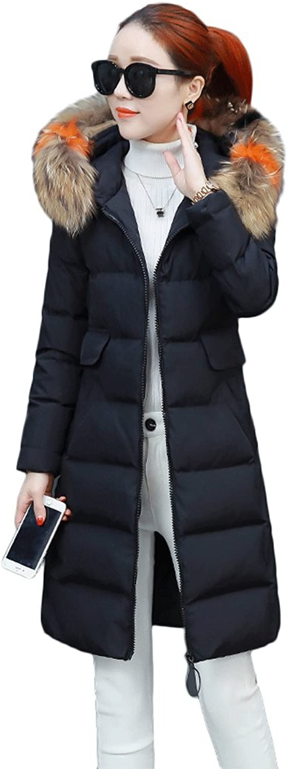 Women's Winter Fashion Slim Hooded Down Jacket Thicken Long Section Warm Windproof Coats (color   Black, Size   XXL)