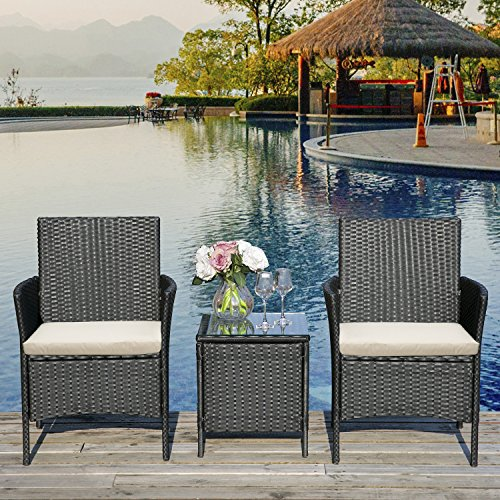 LIFE CARVER Rattan-Gartenmöbel, 3-teiliges Set, Gartensofa, Outdoor, Terrassenmöbel (schwarz)