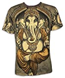 WEED T-Shirt da Uomo - Ganesha Dio Elefante Taglia M L XL Budda Arte Psichedelica Yoga Indù India Indù Magliette (L, Giallo)