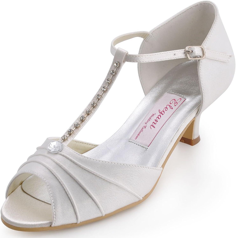 Elegantpark EL-035 Women Peep Toe T-Strap Pumps Mid Heel Rhinestones Satin Wedding Bridal Sandals Ivory US 9