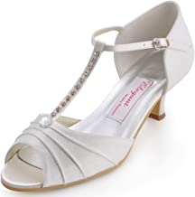 ElegantPark EL-035 Mujer Sandalias Punta Abierta Tacón Bajo Rhinestones Satin Zapatos de Vestir Baile Noche