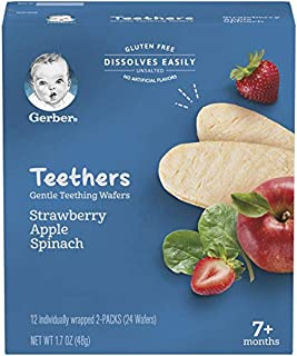 Gerber Teethers Gentle Teething Wafers - Strawberry Apple Spinach, 6 Count, 20.4 Ounce