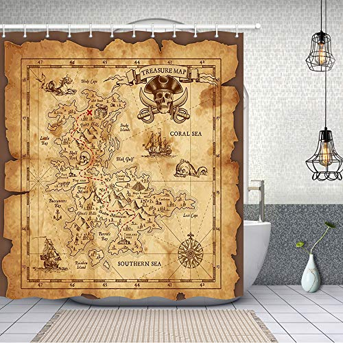 NYMB Nautical Island Map Decor, Vintage Old Map Pirate Ship Bath Curtain 69X70 inches Polyester Fabric Ocean Ancient Pirate Treasure Map Shower Curtains Fantastic Decorations