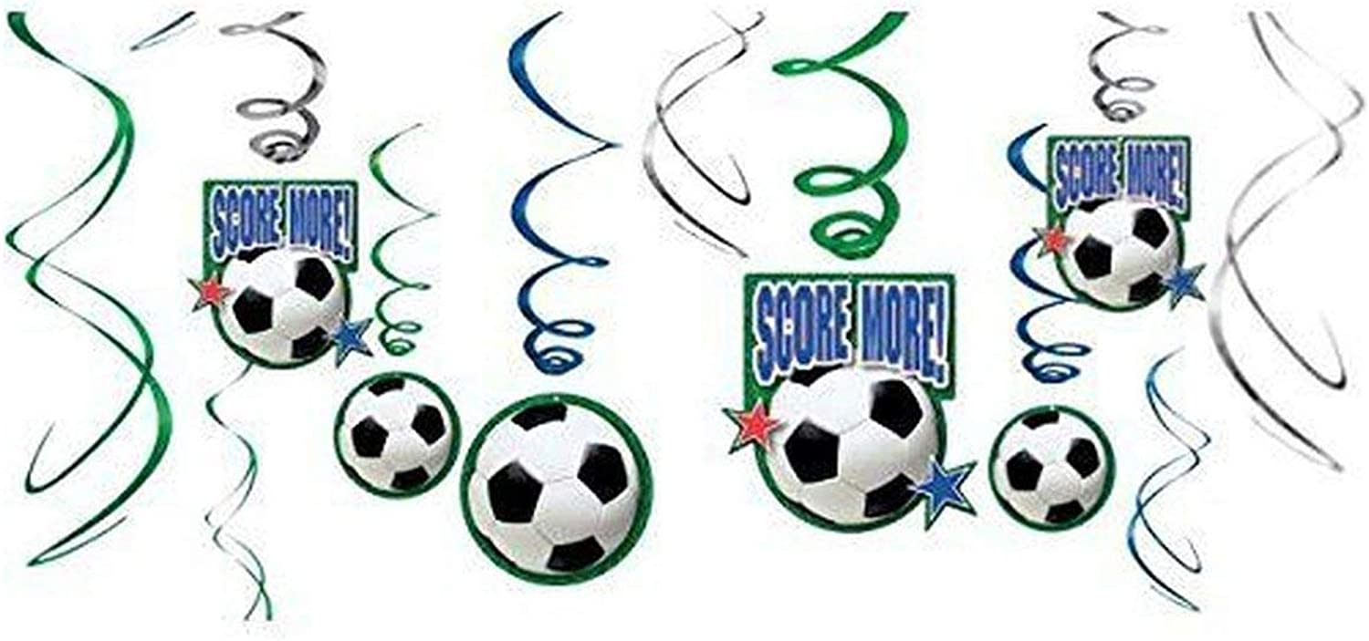 Amscan Soccer Goal Birthday Party Hanging Swirl Ceiling Favour Paper Pack of 36