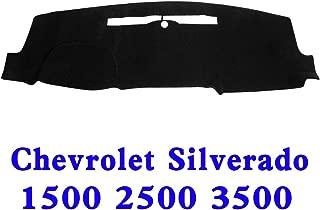 JIAKANUO Auto Car Dashboard Dash Board Cover Mat Fit Chevy Chevrolet Silverado 1500 2500 3500 2014-2017(Silverado 14-17, Black MR-032)
