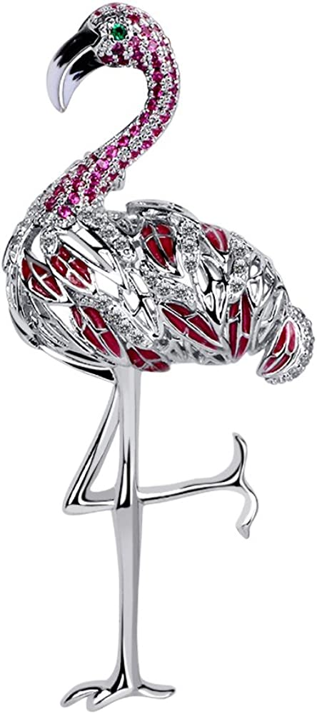 KimYoung Flamingo Directly managed store Brooch Pin Jewelry Lowest price challenge Women Gifts Girlfr for
