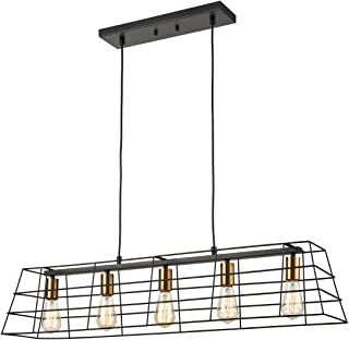 Industrial Dining Room Chandeliers 5-Light Linear Black...