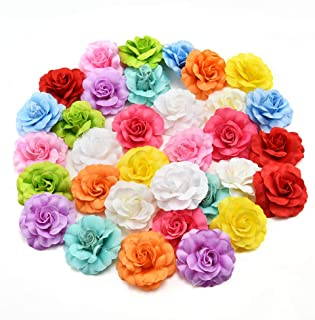fake flowers heads Bulk Artificial Silk Mini Rose Flower Head Wedding Home Decoration DIY Garland Scrapbook Gift Box Craft Fake Flower 30pcs/lot 4.5cm (Multicolor)