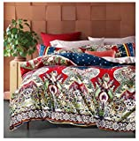 Bohemian Duvet Cover Striped Ethnic Boho Reversible Paisley Pattern Cotton Bedding 3 Piece Set Colorful Modern Hippie Style (Queen, Red/Blue)