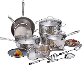 Momscook Classic Stainless Steel Cookware Set with Free Nylon Kitchen Utensils, Tri-ply Base Construction Pots and Pans Set, 14-Piece