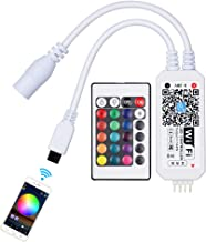 IKERY WiFi LED Strips Lights Smart Controller, RGB LED Strip Lights Controller Music Sync, Voice Control Compatible with Alexa, Extra IR Remote Controller
