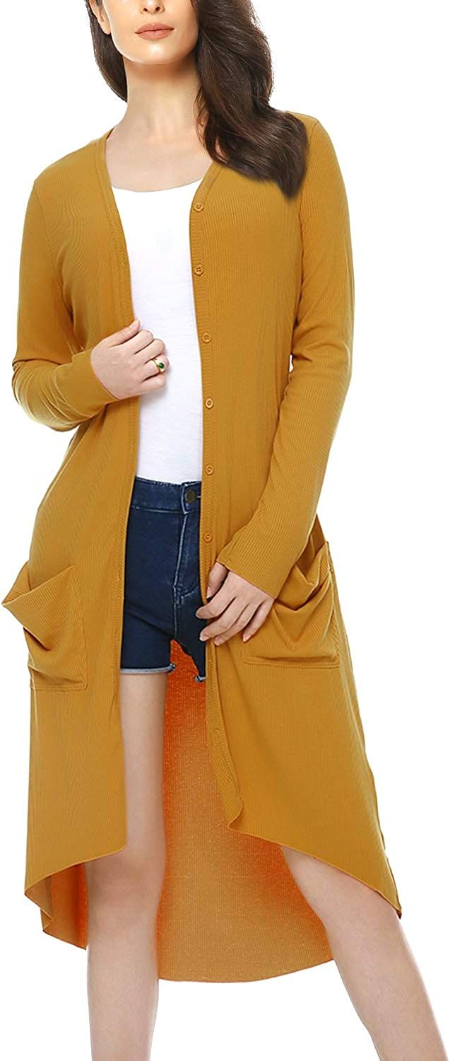 Mixfeer Womens Long Sleeve Cardigan Button Open Front Knit Solid Casual Sweater Coat with Pockets