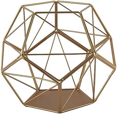 "Efavormart 7"" Gold Geometric Candle Holder Metal Geometric Floral Centerpieces Geometric Terrariums DIY"