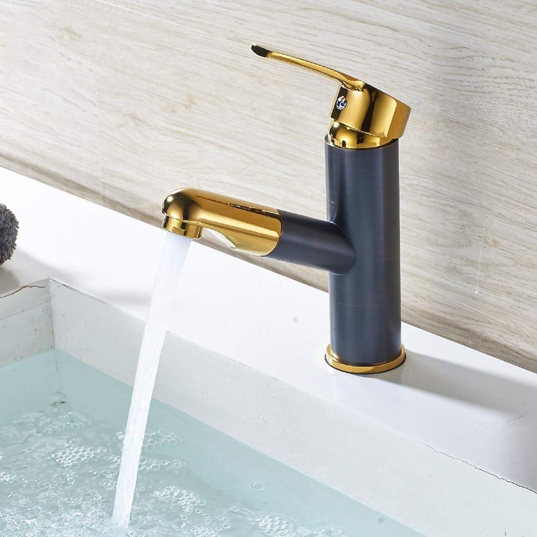 ZHFJGKR&ZL Bathroom Faucet Pull Out Bathtub Sink Crane Copper Sink Faucet Faucet Hot And Cold Faucet Wash Faucet