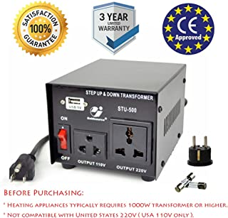 Goldsource 500W Step Up & Step Down Voltage Transformer Converter, STU-500 Heavy Duty Continuous AC 110-120V to 220-240V Converter with US Standard & Universal Outlets and DC 5V USB Port, 500 Watt